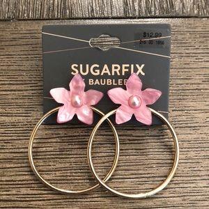 SUGARFIX Goldtone Hoops w/ Pink Pearlized Flowers